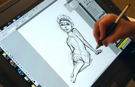 Character animator James Baxter working on Ugga from Dreamworks The Croods