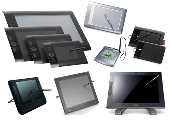 The many different sizes of a Wacom Tablet